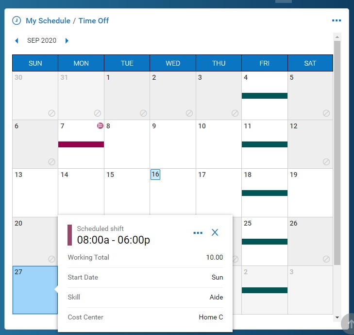 Employee Schedule View